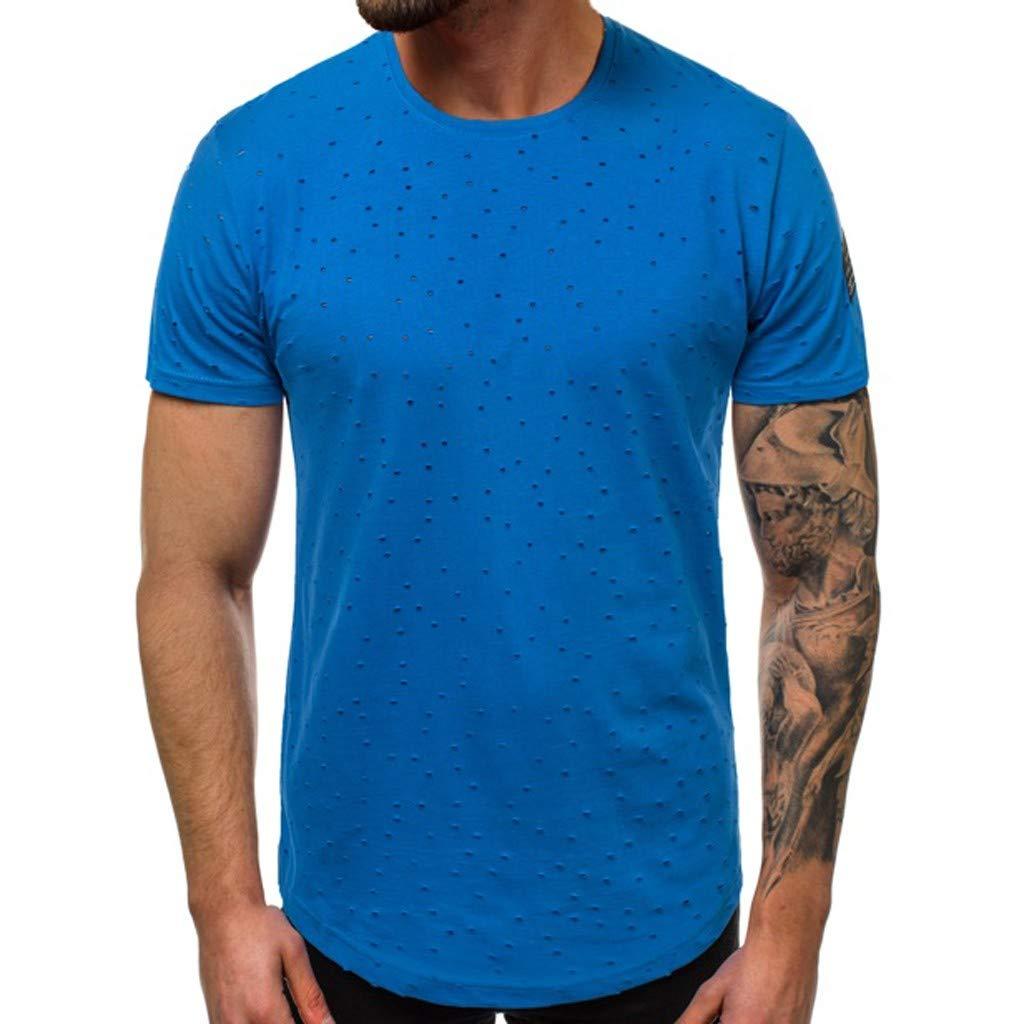 Men's Shirts Hole Summer Solid Short Sleeve Comfort Standard Fit Crew Neck Tee (M, Blue)