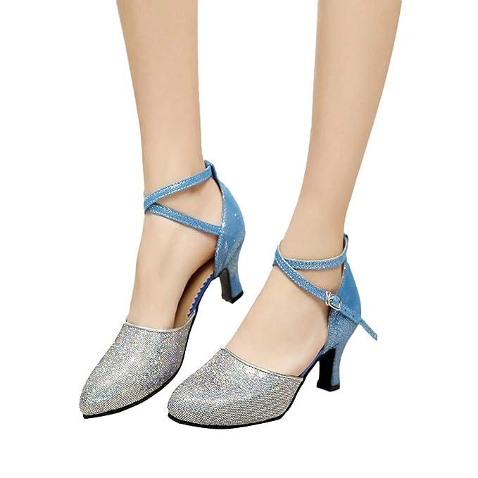 0fb0325b Darringls_Sandalias de Primavera Verano Mujer,Zapatos de Baile de Salsa de  Tango Zapatos de Baile Latino para niña Zapatos de satén para medianos  Talones ...