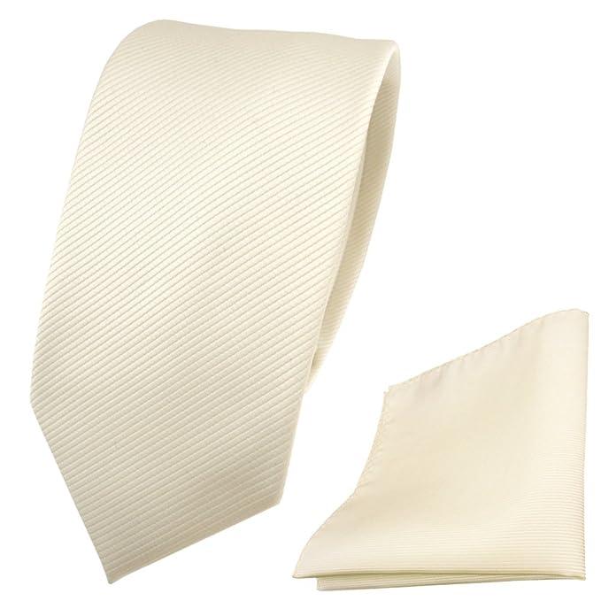Designer TigerTie Krawatte Einstecktuch weiß perlweiß creme cremeweiß Uni Rips