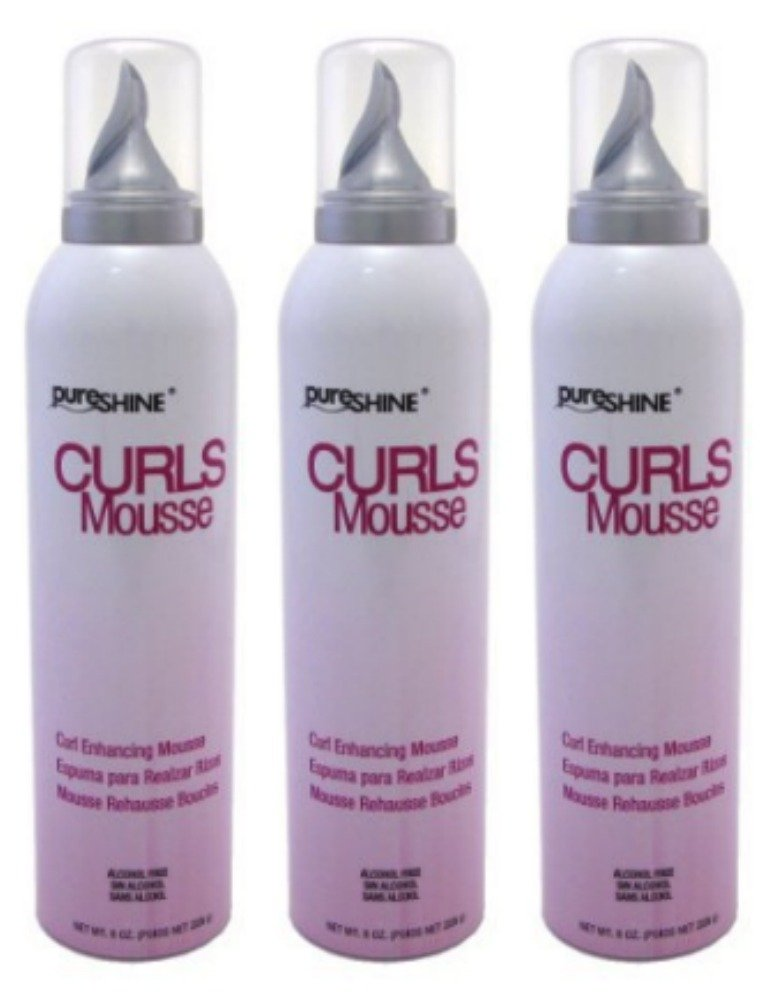 Lot of 3 Pureshine Curls Mousse 8 oz/each