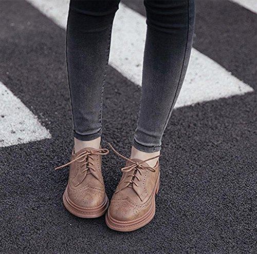 Mme Spring chaussures d'ascenseur chaussures épaisses à muffins en croûte avec des chaussures en cuir épais Mme , US6.5-7 / EU37 / UK4.5-5 / CN37