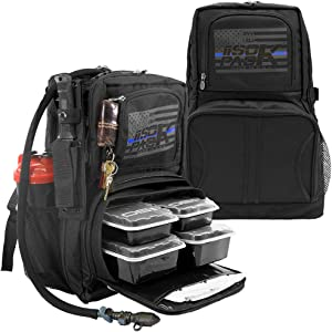 Thin Blue Line 4 Meal RUGGED ISOPACK Meal Prep Management Backpack Insulated Lunch Pack Cooler with 4 Stackable Meal Prep Containers, 1 ISOBRICK - MADE IN USA