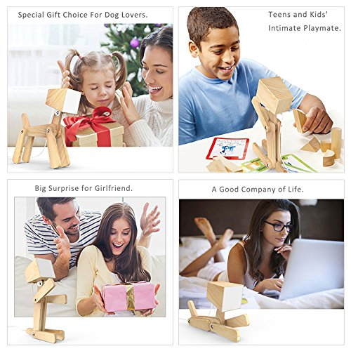 SUSIDUN Beside Reading Lamp, Design Adjustable Wooded Desk Table Lamp with Touch Switch,3 Dimming Brightness Levesl,Puppy Animal Night Light for Teens Bedroom Study 12v (Ash, Warm white light) by SUSIDUN (Image #7)