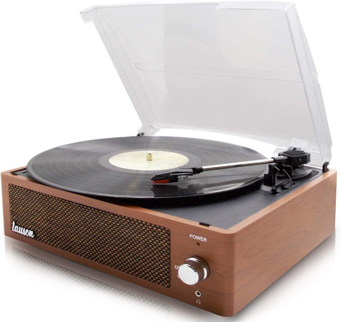 Tocadisco XN092 Lauson Función Grabación Encoding PC-Link | Tocadiscos de Vinilo Vintage con Bluetooth y Altavoces Incorporados | Reproductor de Vinilo 3 Velocidades 33, 45, 78 | (Roble)