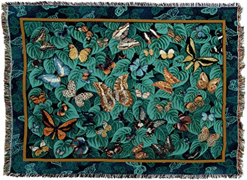 (Pure Country Weavers - Butterfly Dance Woven Tapestry Throw Blanket with Fringe Cotton USA Size 72 x 54)