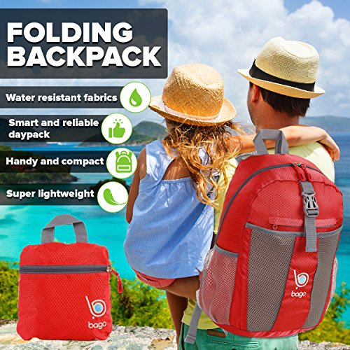 bago Lightweight Foldable Backpack for Travel and Sport - 25L Collapsible Daybag (Red)