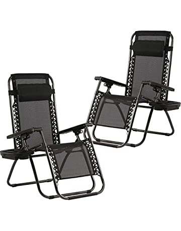 9b56f7c8b3b ... Chair. Zero Gravity Chairs Set of 2 with Pillow and Cup Holder Patio  Outdoor Adjustable Dining Reclining