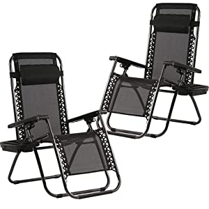 Zero Gravity Chairs Set of 2 with Pillow and Cup Holder Patio Outdoor Adjustable Dining Reclining Folding Chairs for Deck Patio Beach Yard (Black)