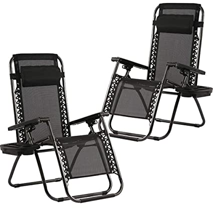Cool Zero Gravity Chairs Case Of 2 Black Lounge Patio Chairs Outdoor Yard Beach With Cup Holders Black Cjindustries Chair Design For Home Cjindustriesco