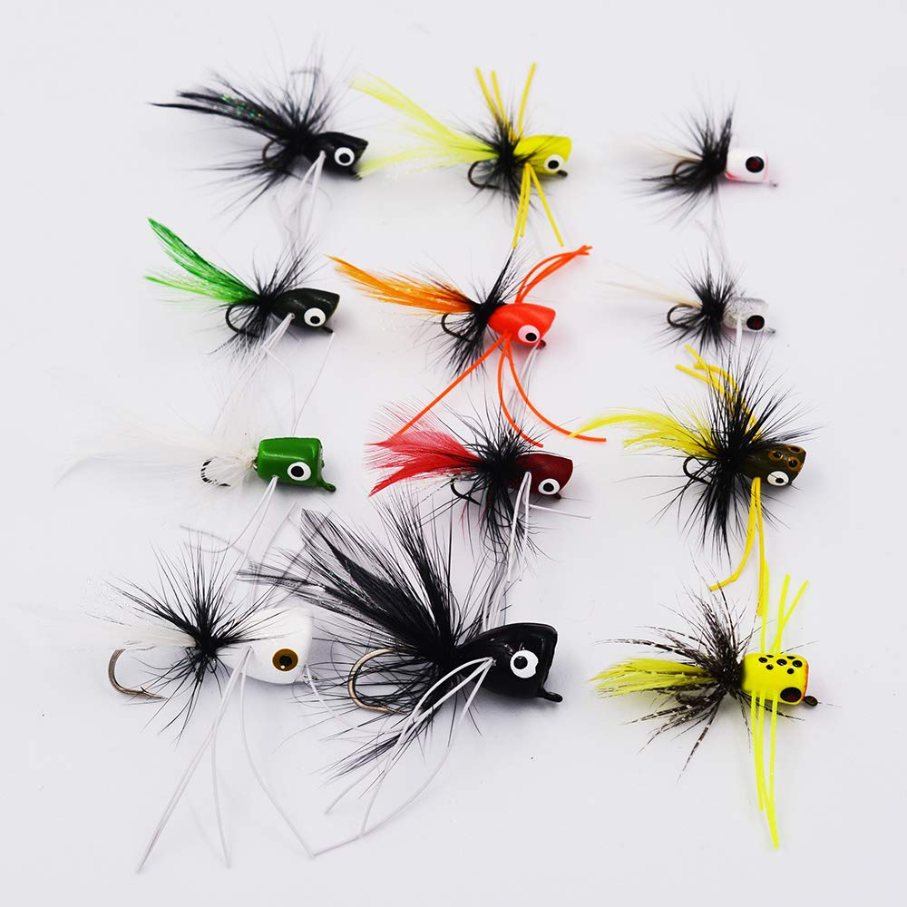 Flyafish Bass Popper Dry Fly Fishing Lure Kit Panfish Bait (color3)
