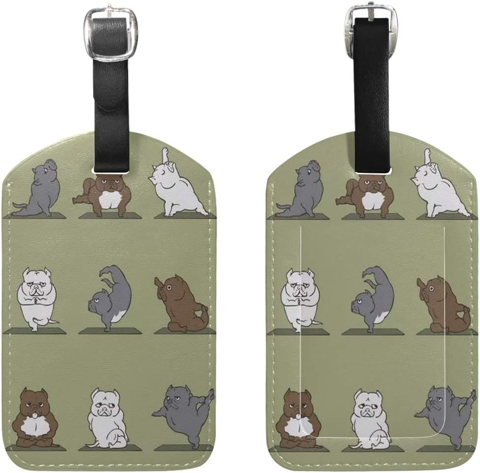 Travel Cute Hippo Leather Luggage Tags with Black Strap Set of 1
