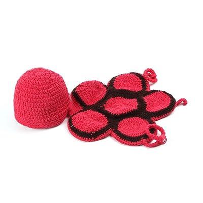 Bigood Déguisement Infantile Tricoté Crochet Pour Bébé de 0 à 6 Mois Tortue Rouge