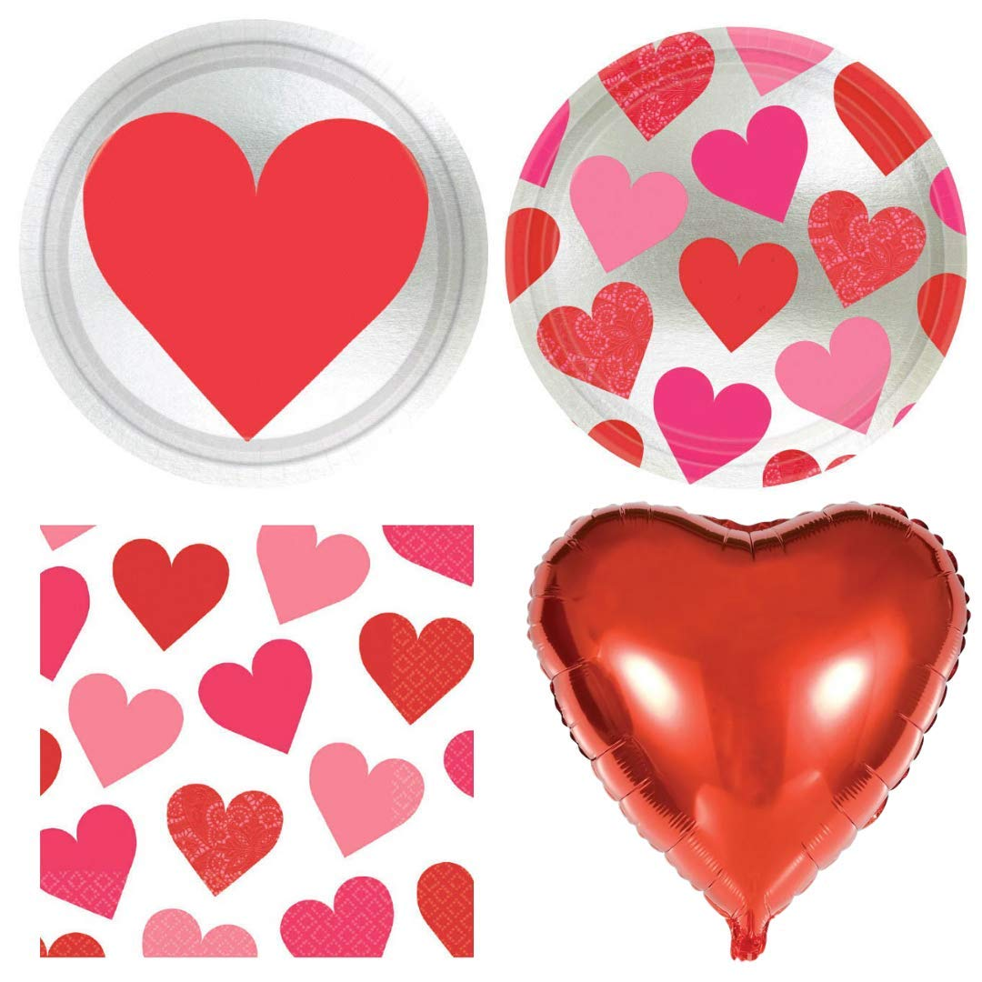 Key to Your Heart Valentine/'s Day Party Tableware Supplies Pack for 16 and Balloons Napkins Disposable Plates