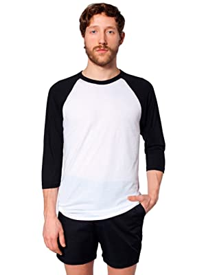 American Apparel Poly-Cotton 3/4 Sleeve Raglan-White/Black