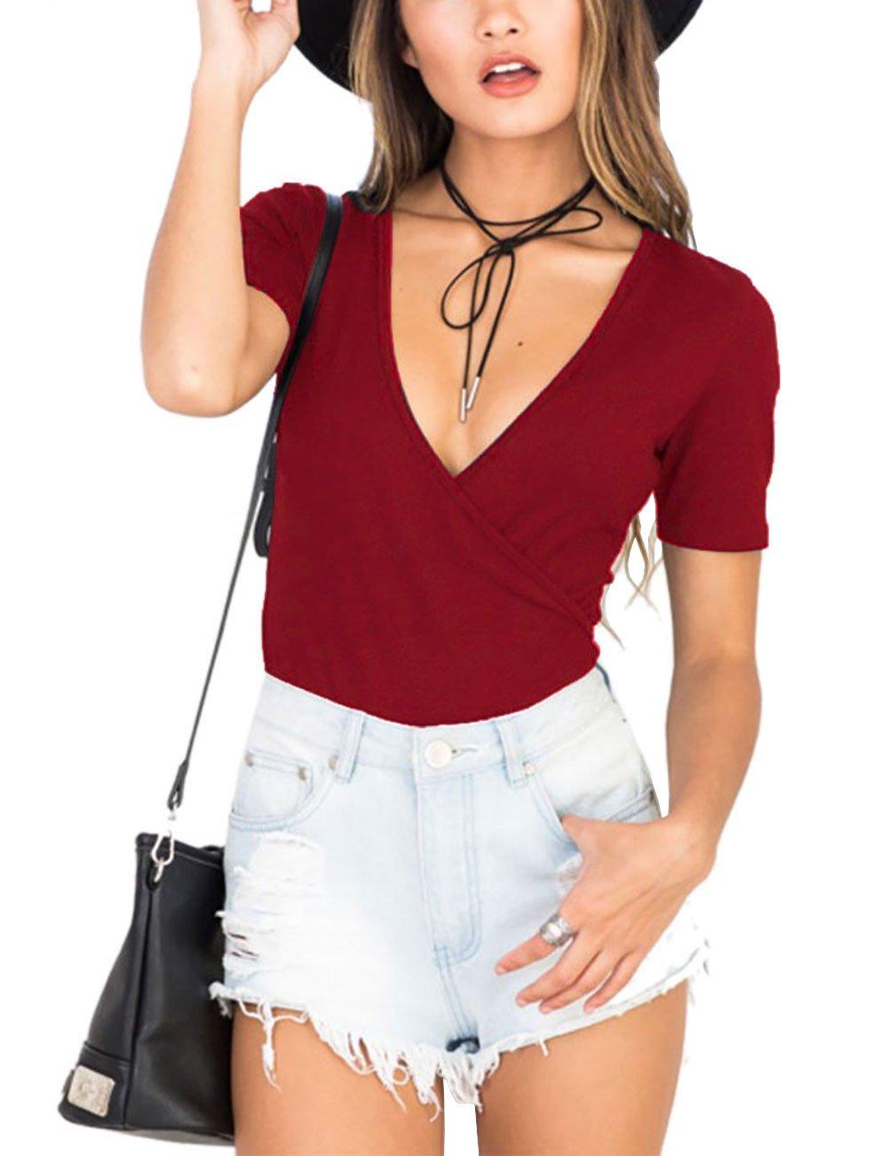 Akmipoem Teen Girls Sexy Deep V Neck Wrap Over Short Sleeve Solid Leotard Bodycon Bodysuit Jumpsuit Wine Red M