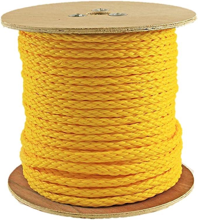 Hollow Braid Polypropylene Rope in Black 3//8 Inch 100 Feet