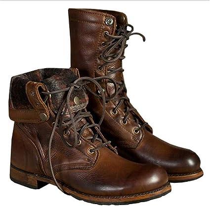 LXLLY Mens Martin Boots Moda con Cremallera con Cordones Diseño Martin Boots PU Punk Gothic Men