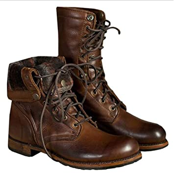 LXLLY Mens Martin Boots Moda con Cremallera con Cordones Diseño Martin Boots PU Punk Gothic Men Shoes Low Heel Riding Motocicleta Botines,48: Amazon.es: ...