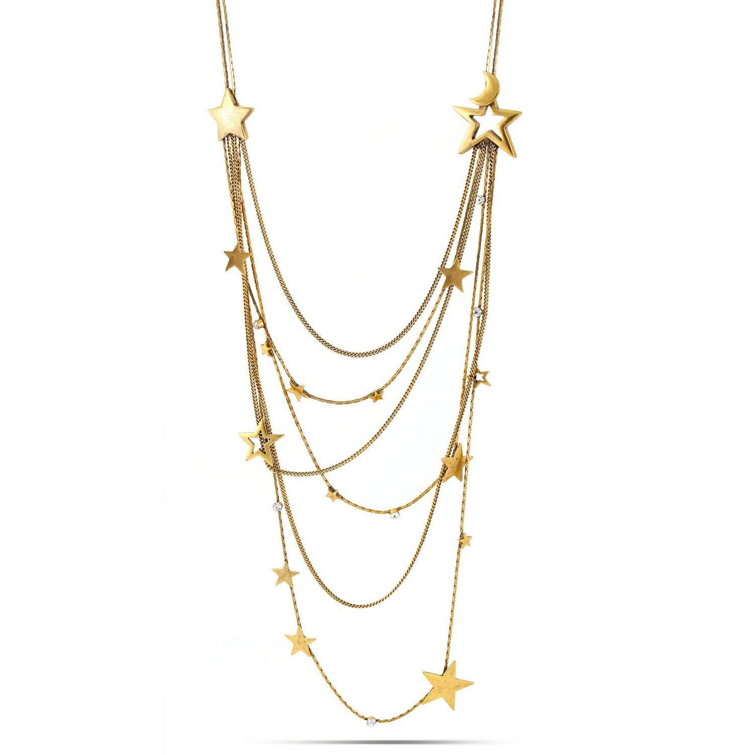 TAZZA GOLD STAR AND MOON CRYSTAL LAYERED LONG NECKLACES #200GD1401