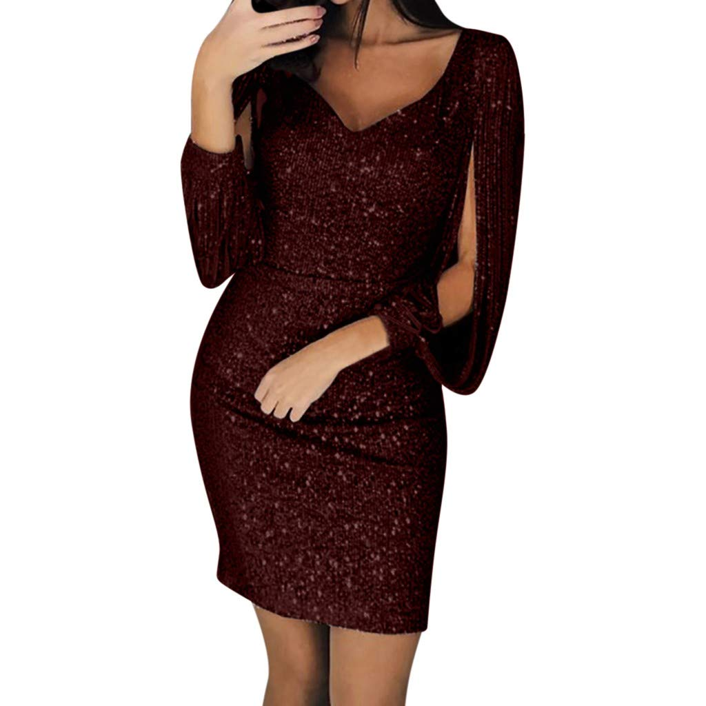 Women Sequin V-Neck Stitching Shining Club Sheath Long Sleeved Mini Dress Ladies Bodycon Cocktail Party Dress (S, Wine)