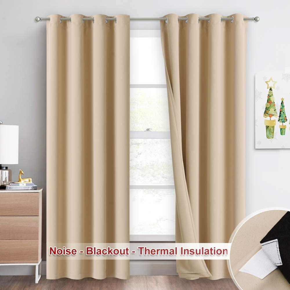 NICETOWN Thermal Insulated 100% Blackout Curtains, Noise Reducing Performance Drapes with Felt Fabric Liner, Full Light Blocking Panels for Patio (Biscotti Beige, 1 Pair, 52 inches x 95 inches)