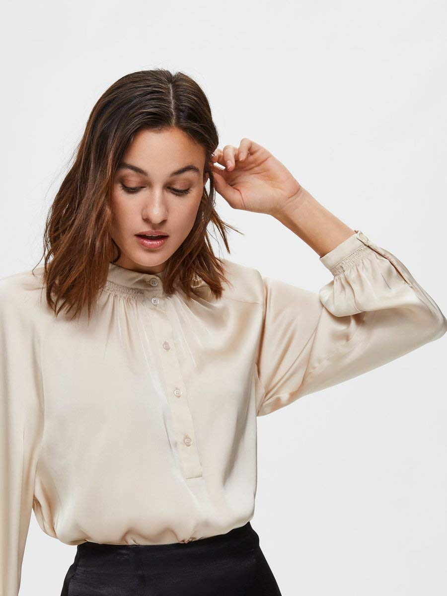 Utvald kvinna dam slfharmoni Ls Shirt B blus Sandshell