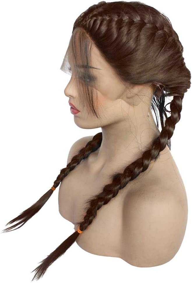 showsing Synthetic Braids Lace Front Braids Wig for Women Ladies Long Dirty Black//Brown Double Braided Wigs 25.6 inches