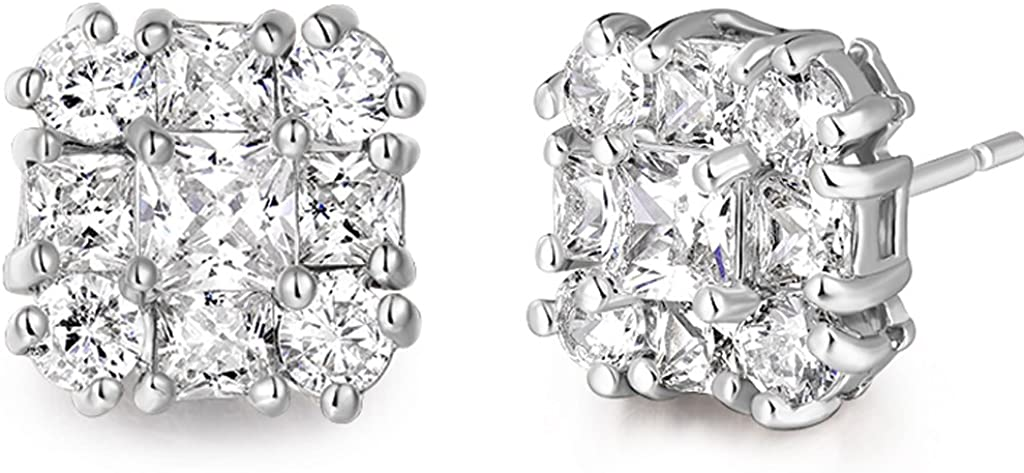 GULICX white gold Tone White Cubic Zirconia Rhinestone Vogue Square Stud Earrings