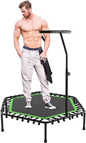 Hosmat Mini Rebounder Trampoline with Adjustable Handle for Two Kids, Parent-Child Twins Trampoline Max. Load 220LBS