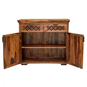 MH Decoart Handcrafted Sheesham Wood Natural Honey Finish Sideboard with 2 Drawres 2 Doors