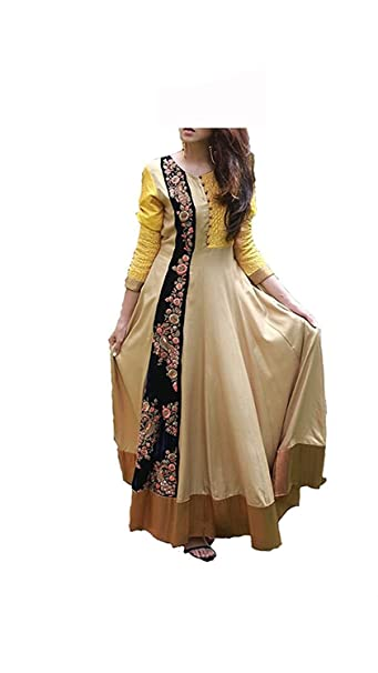72931617bfaa Royal Export Women s A-Line Cotton Anarkali Suit (gogls Cotton Beige Free)  (gogls Cotton Beige Free)  Amazon.in  Clothing   Accessories