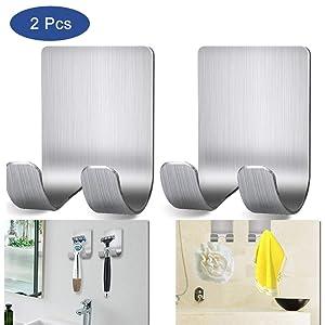 Razor Holder Shaver Hook Hanger Stand, Multi Purpose Self Adhesive Storage Hook, 2 Pack Heavy Duty Razor Holder for Shower Shaving Razor, Keys, Kitchen Utensils, Towel (2-Pack)