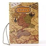 Aday PU Passport Cover World Map 3D Passport Cover Holder for Travel Passport Holder with World Trip Pattern