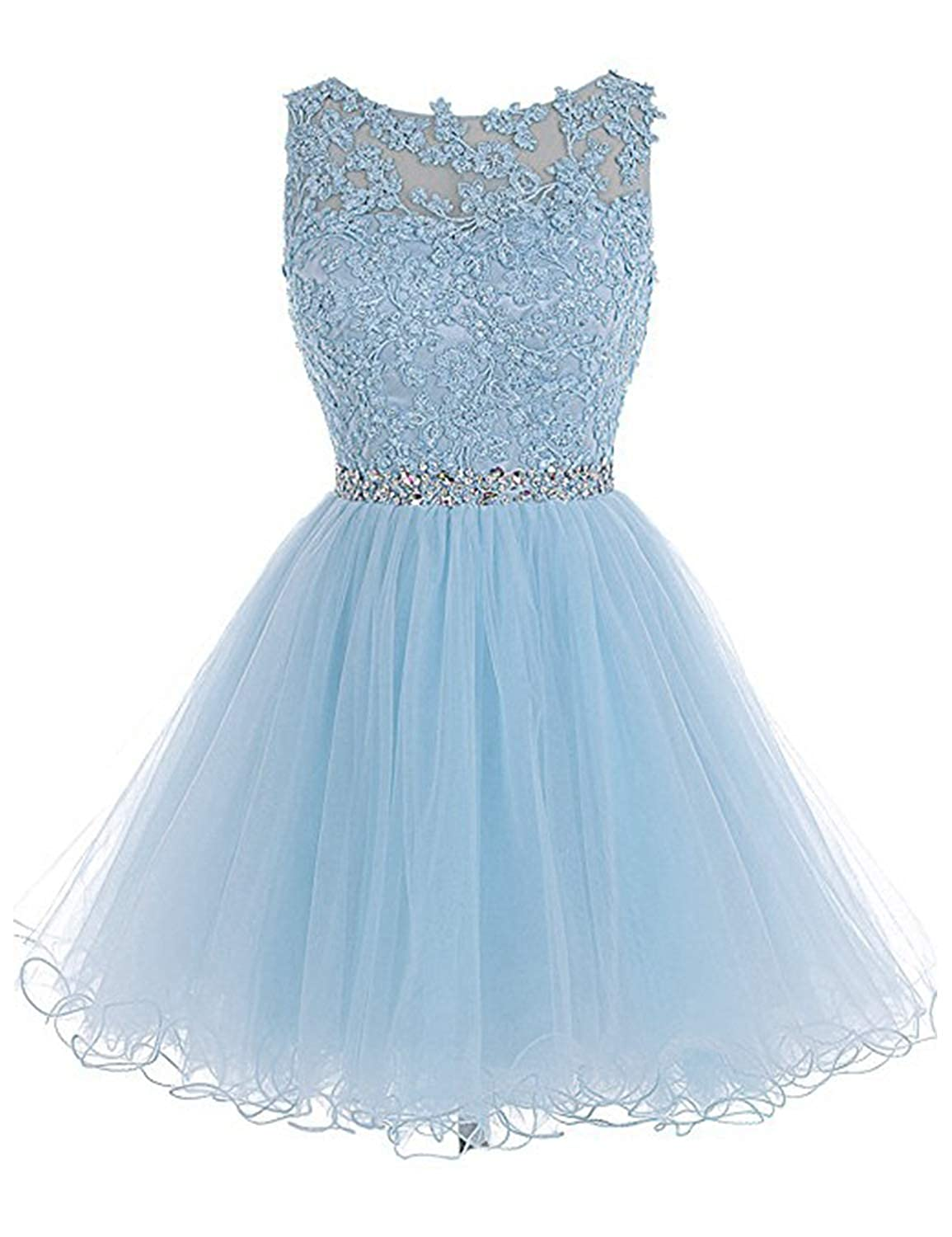 0 Light bluee Vimans Women's Short Tulle Homecoming Dresses 2018 Knee Length Lace Prom Gowns Dress448