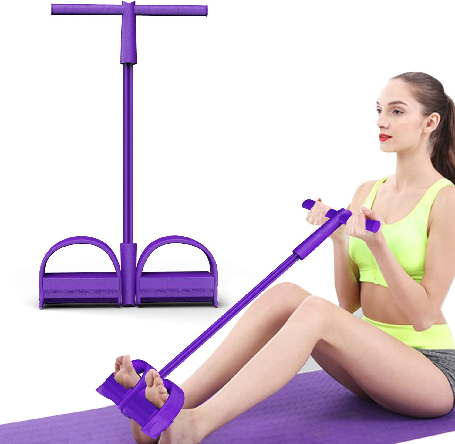 Bodybuilding Fitness Foot Pedal Pull Rope Resistance Exercise Yoga Sit up Rope