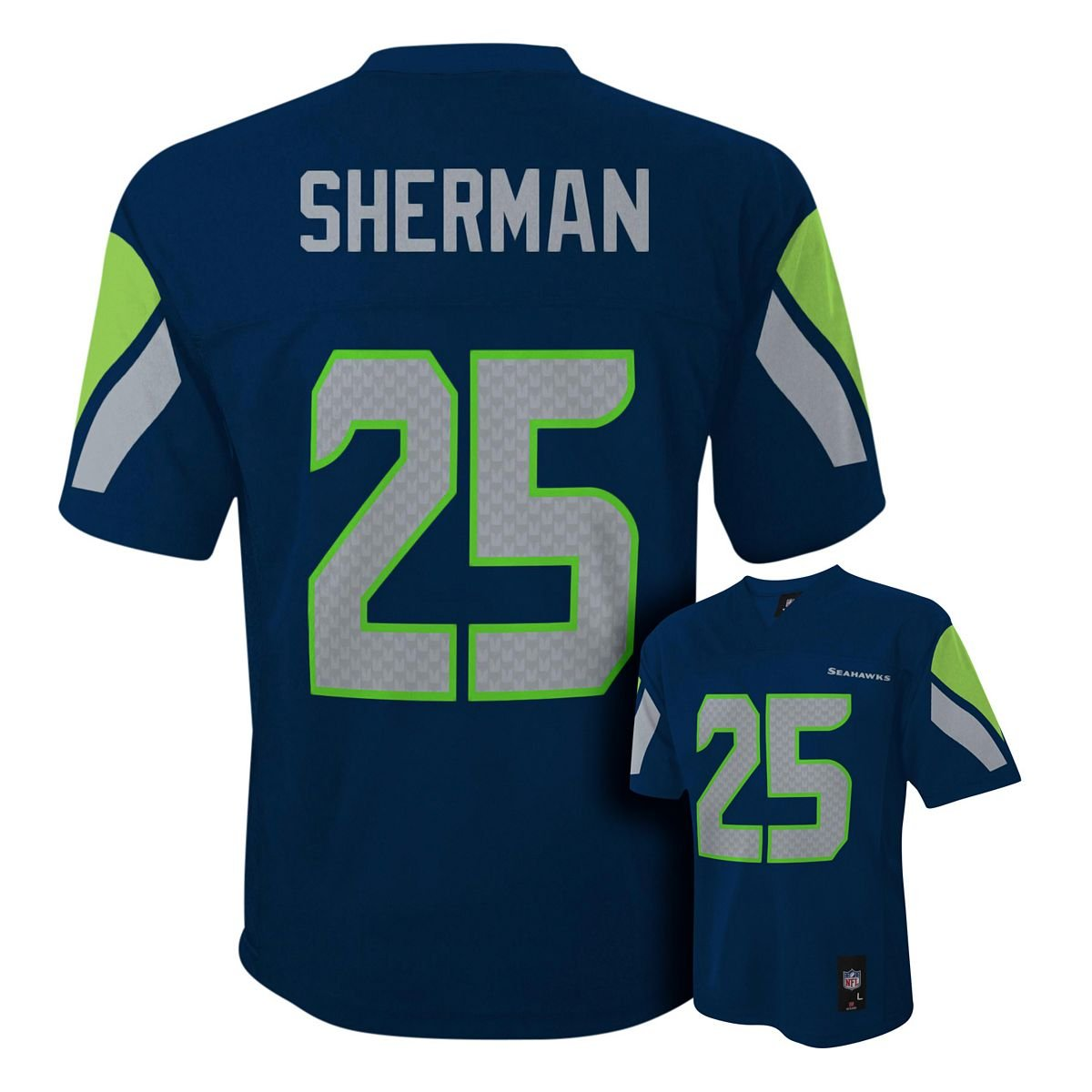 sale retailer ac2c4 98401 Amazon.com: Richard Sherman Seattle Seahawks #25 Navy NFL ...