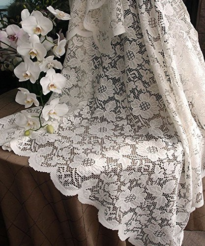 Ivory Floral Lace Crochet Square Tablecloth Overlay