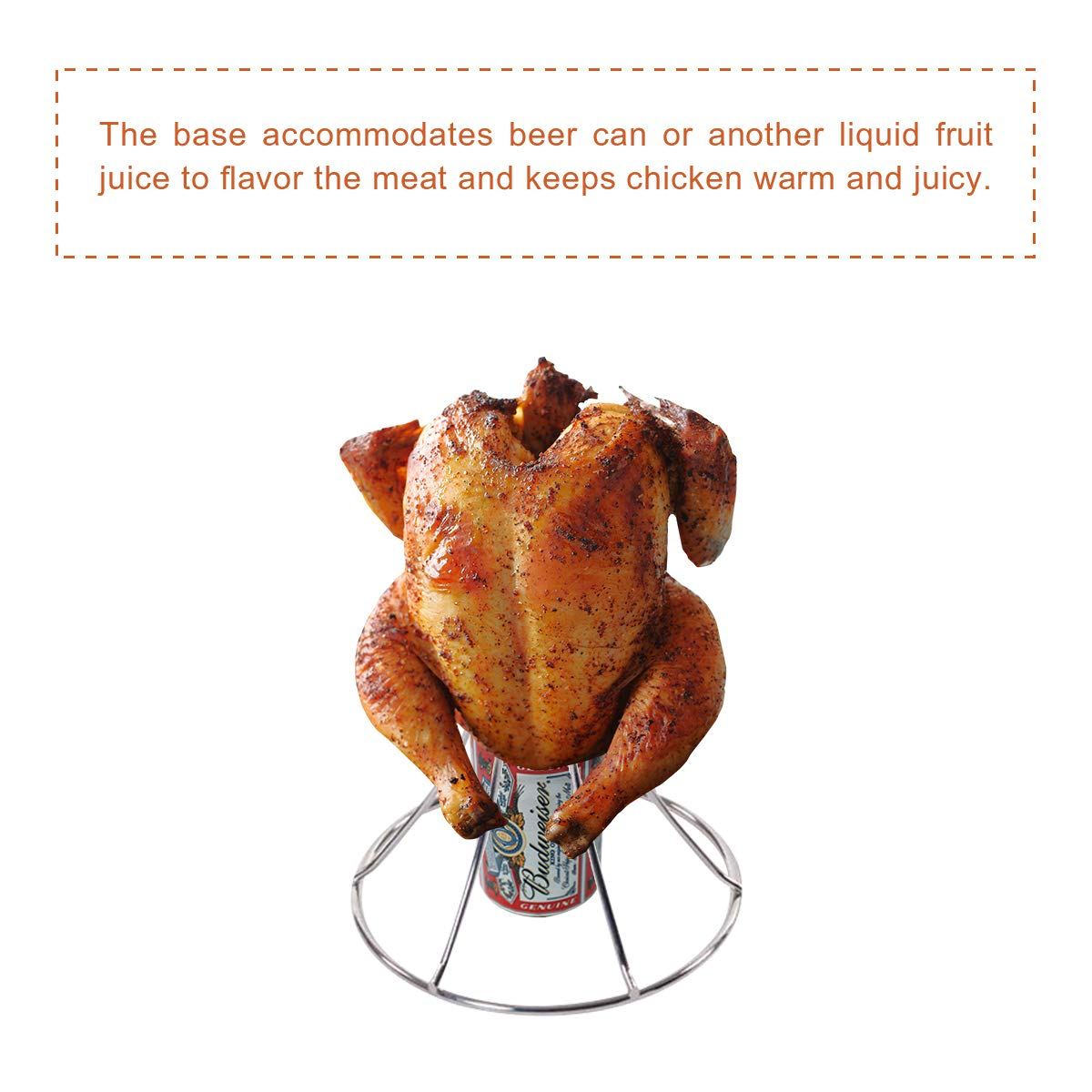 QQMaster Vertical Chicken Roaster Stainless Steel Turkey Rack Roaster Beer Can Meat Rack Holder Non-Stick Poultry Grill Stand Can Hold Turkey Or Cornish Game Hens Fit for Big Green Egg,Kamado Grills by QQMaster (Image #4)