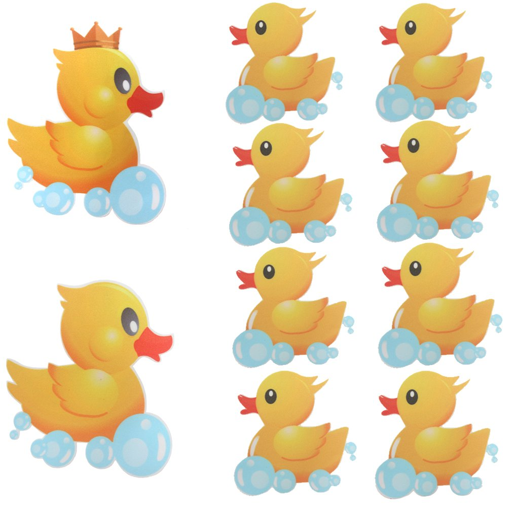 MIA GENOVIA Bathtub Non Slip Stickers Yellow Duck Family Swimming Ducky Anti Slip Stickers Kids Bathroom Safety Decal Set (Pack of 10)