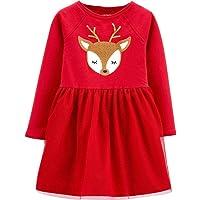 Carter's Christmas Sparkly Sequin Reindeer Long Sleeve Red Tutu Dress