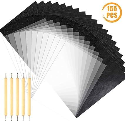 100/feuilles de papier carbone noir transfert papier calque et 5/pi/èces /à double extr/émit/é tra/çage stylet Dotting Tools pour papier de bois sur toile