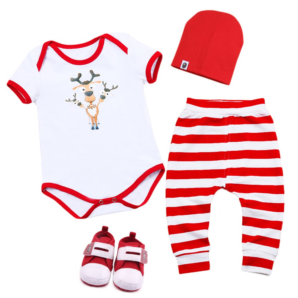 fabfa4f27716 4PCS Newborn Infant Unisex Baby Boys Girls Christmas Santa Clothes Set My  1st Christmas Outfits Rompers Jumpsuit Kids Toddlers Striped Pants Hat  Shoes Xmas ...
