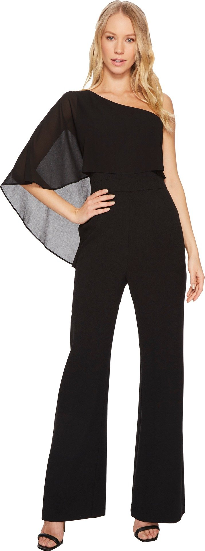 Vince Camuto Women's One Shoulder Crepe Jumpsuit With Chiffon Overlay Black 4