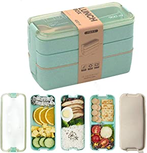 DUILE Lunch Box Bento Box Food Containers 3-Layer Lunch Bag Leakproof Lunchbox with Fork Spoon Prep Utensils Containers Box for Adults Kids Wheat Straw-BPA FREE and Food-Safe Materials
