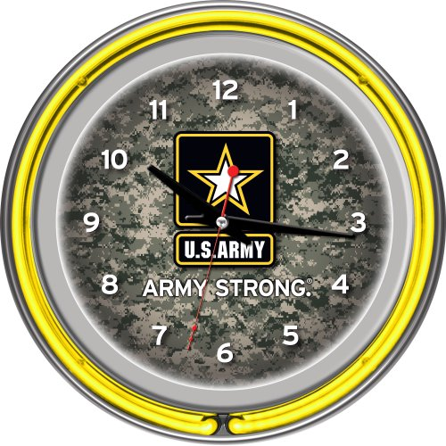 Army Chrome Double Ring Neon Clock