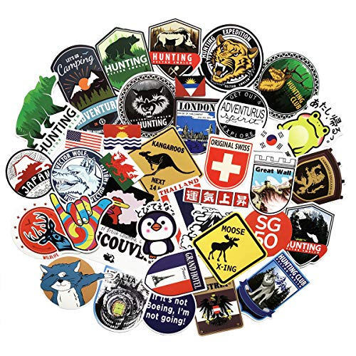 37PCS Large Pack Adventure Stickers Go Hunting Logo Travel Stickers Phone Laptop Stickers Water Bottle Motorcycle Bicycle Luggage Guitar Bike Skateboard Refrigerator Sticker Decal (cyber celebrity 37)