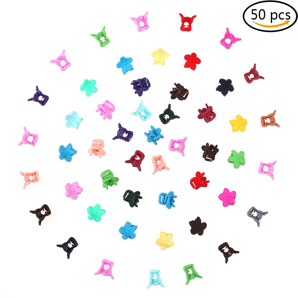 ADFEN Mini Flower Hair Claw Clip Cute Small Hair Pin For Little Girls Assorted Colored, 50Pcs Aduo Fenty