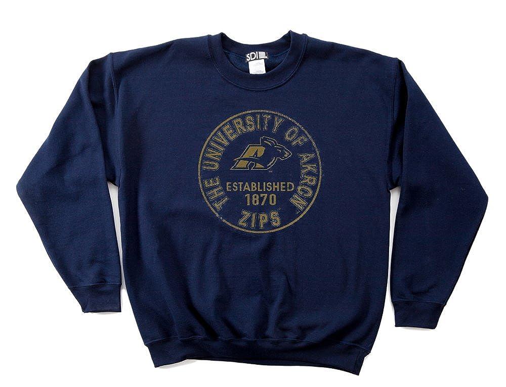 NCAA Akron Zips 50//50 Blended 8-Ounce Vintage Circle Crewneck Sweatshirt