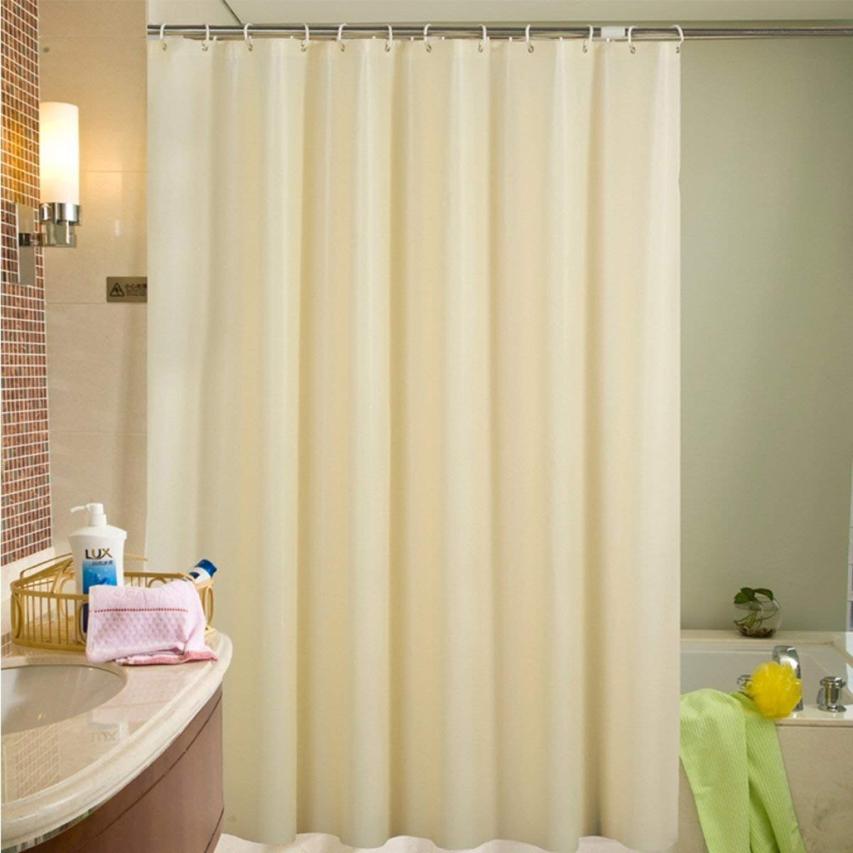 Der Solid Color Fog Translucent Blinds Thickened EVA Bathroom Free Punching Shower Curtain Waterproof and Moldy Bathroom Accessories (Color : A, Size : 200cm180cm)