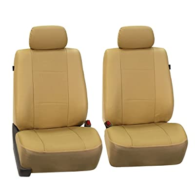 FH Group PU007BEIGE102 Beige Deluxe Leatherette Bucket Seat Cover, Set of 2 (Airbag Compatible): Automotive
